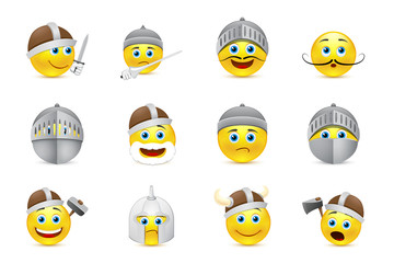 collection of vector illustrations of knights emoticons