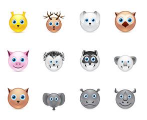 animals smile icons set