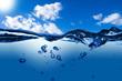 Leinwanddruck Bild - Water Wave with Cloudy Blue Sky