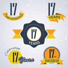 Retro vector stamp celebrating, 17 years of service,Anniversary