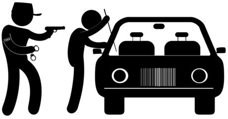 délinquant pris en flagrant délit de vol à la roulotte