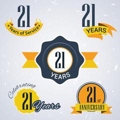 Retro vector stamp celebrating, 21 years of service,Anniversary