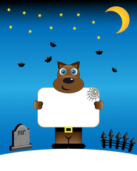 Halloween poster with funny werewolf