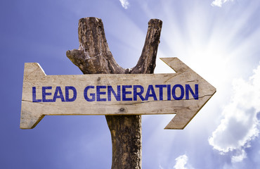 Lead Generation wooden sign on a beautiful day