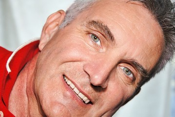 Featured expressive face man in his sixties