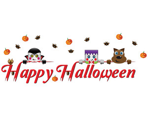 Halloween text with funny monsters