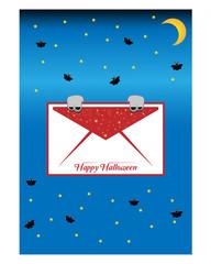 Halloween postcard with monster hands