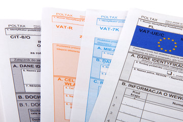 Blank income tax forms. Polish forms PIT .