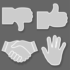 Icon hand. Signs with his hands, good, bad, stop, handshake
