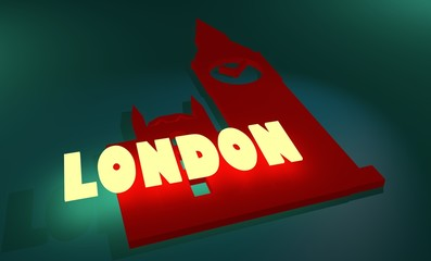 london neon shine text and big ben silhouette