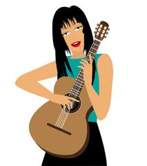 illustrazione di ragazza con chitarra