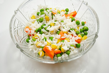 Rice and Vegetables in a Fancy Glass Bowl