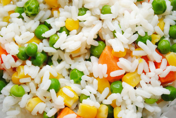 Background of Rice and Fresh Organic Vegetables