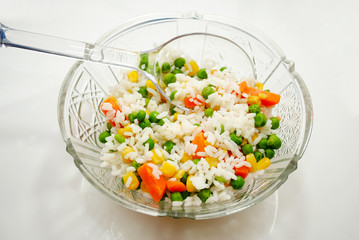 Vegetables with Rice in a Glass Serving Bowl