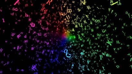 Random Letters Abstract Animation - Loop Rainbow