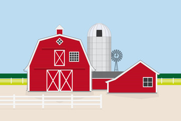 American Farm Flat Design Vector Illustration