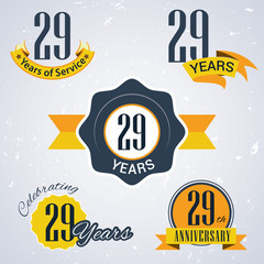 Retro vector stamp celebrating, 29 years of service,Anniversary