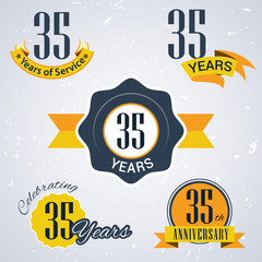 Retro vector stamp celebrating, 35 years of service,Anniversary