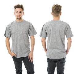 Man posing with blank grey shirt