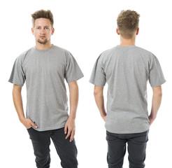 Man posing with blank grey shirt