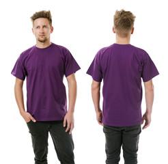 Man posing with blank purple shirt
