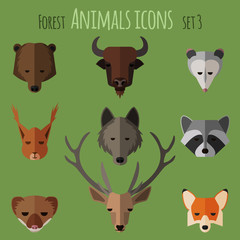 Forest animals flat icons. Set 1