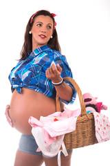 pregnanto woman carring a wicker basket