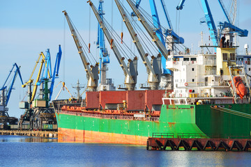 Cargo ship (Bulk carrier) loading in cargo terminal of Riga