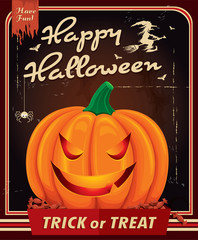 Vintage Halloween poster design with pumkin head