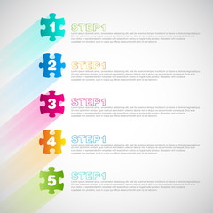 Minimal design puzzle or jigsaw style infographic with shadows a
