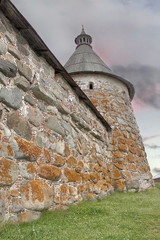 Solovetsky Monastery. Solovki fortress wall with towers