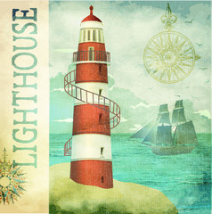 Vintage Lighthouse Poster
