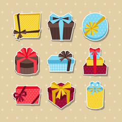 Celebration sticker icon set of colorful gift boxes.