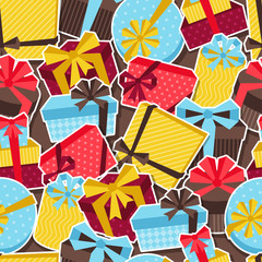 Seamless celebration pattern with sticker gift boxes.