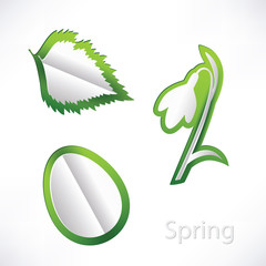 Spring background with snowdrop, birch leaf and egg origami