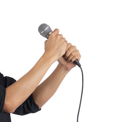 Male hand holding microphone