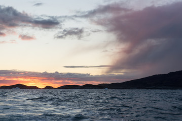 Sunset at arctic coast