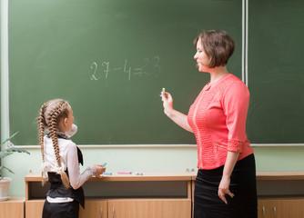 Schoolgirls and teacher in the classroom