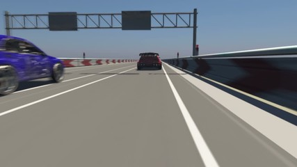 Animation of a car racing 3D