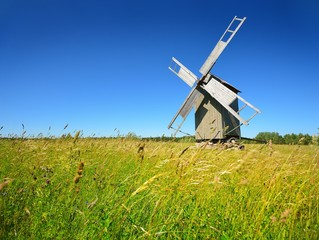 Old wooden windmill on Hiumaa island, Estonia