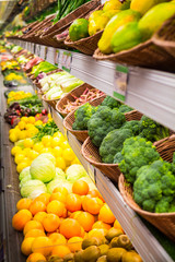 Supermarket. Vegetables and fruits. Grocery.