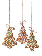 Christmas tree cookies isolated