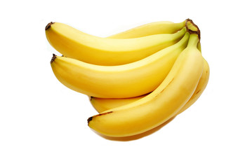 A Bunch of Fresh Organic Bananas on White