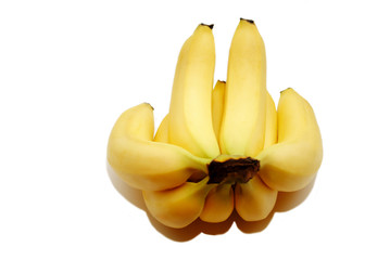 Stack of Fresh Organic Bananas Isolated on White