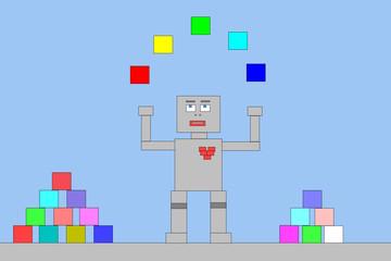 Roboter jongliert mit Bauklötzen