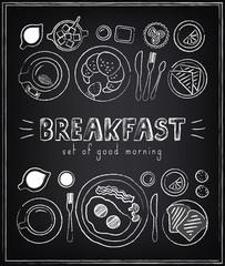 Vintage Poster. Breakfast menu. Sketches