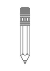 Grey pencil icon on white background