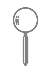 Grey magnifier icon on white background