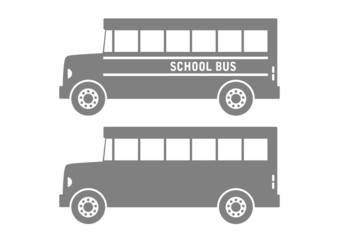 Grey school bus on white background