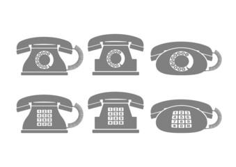 Grey telephone icons on white background